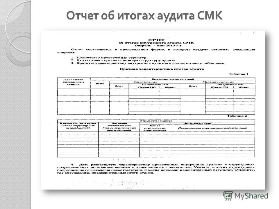 Отчет об итогах аудита СМК