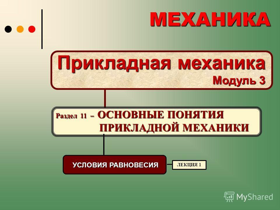 МЕХАНИКА МЕХАНИКА Раздел 11 – ОСНОВНЫЕ ПОНЯТИЯ ПРИКЛАДНОЙ МЕХАНИКИ Прикладная механика Модуль 3 УСЛОВИЯ РАВНОВЕСИЯ ЛЕКЦИЯ 1