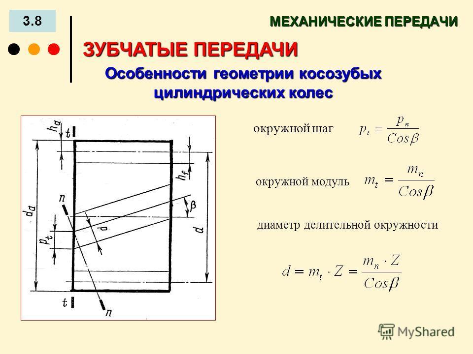МЕХАНИЧЕСКИЕ ПЕРЕДАЧИ 3.8 ЗУБЧАТЫЕ ПЕРЕДАЧИ Особенности геометрии косозубых цилиндрических колес окружной шаг окружной модуль диаметр делительной окружности