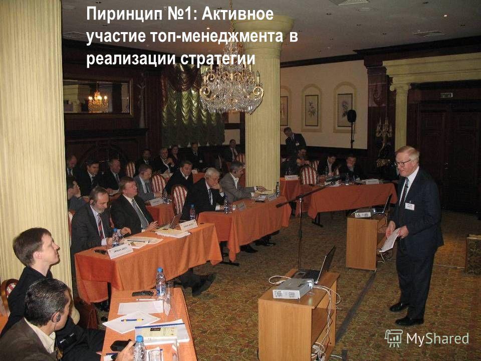 Пиринцип 1: Активное участие топ-менеджмента в реализации стратегии