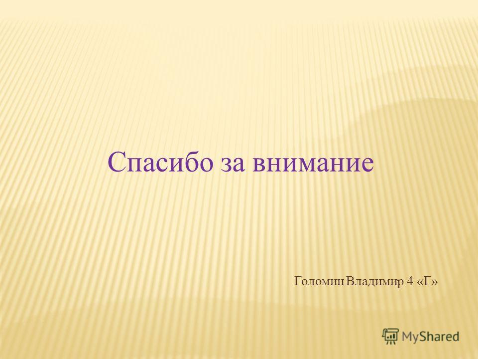 Спасибо за внимание Голомин Владимир 4 «Г»
