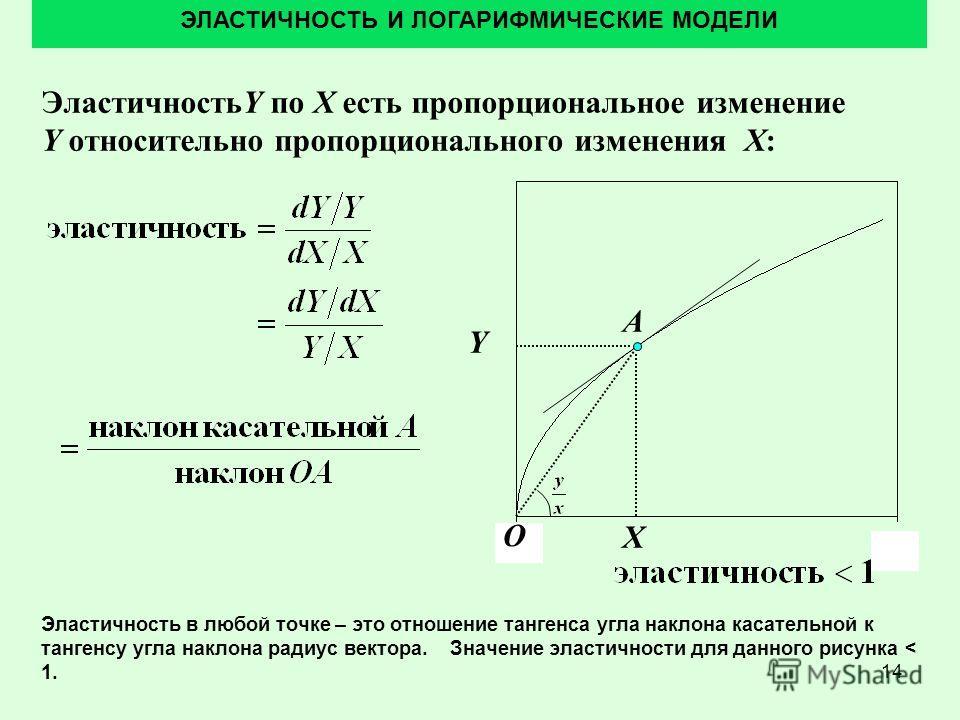 14 ЭластичностьY по X есть пропорциональное изменение Y относительно пропорционального изменения X: ЭЛАСТИЧНОСТЬ И ЛОГАРИФМИЧЕСКИЕ МОДЕЛИ Y Эластичность в любой точке – это отношение тангенса угла наклона касательной к тангенсу угла наклона радиус ве