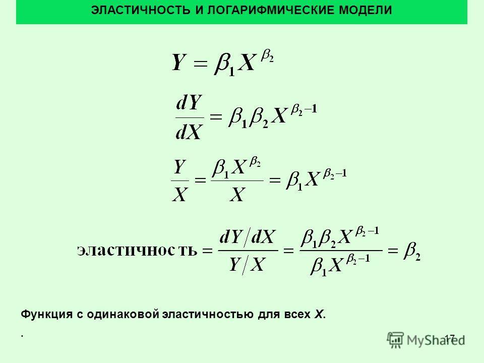 17 ЭЛАСТИЧНОСТЬ И ЛОГАРИФМИЧЕСКИЕ МОДЕЛИ Функция с одинаковой эластичностью для всех X..