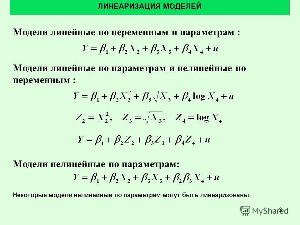 3 Модели линейные по переменным и параметрам : Модели линейные по параметрам и нелинейные по переменным : Модели нелинейные по параметрам: ЛИНЕАРИЗАЦИЯ МОДЕЛЕЙ Некоторые модели нелинейные по параметрам могут быть линеаризованы.
