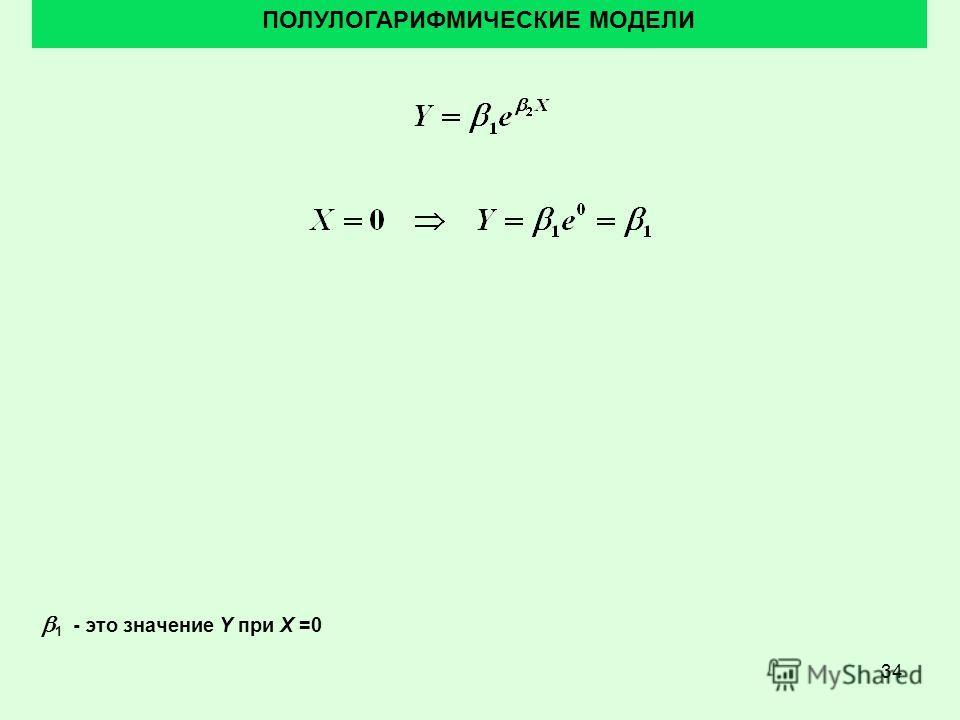 34 ПОЛУЛОГАРИФМИЧЕСКИЕ МОДЕЛИ 1 - это значение Y при X =0