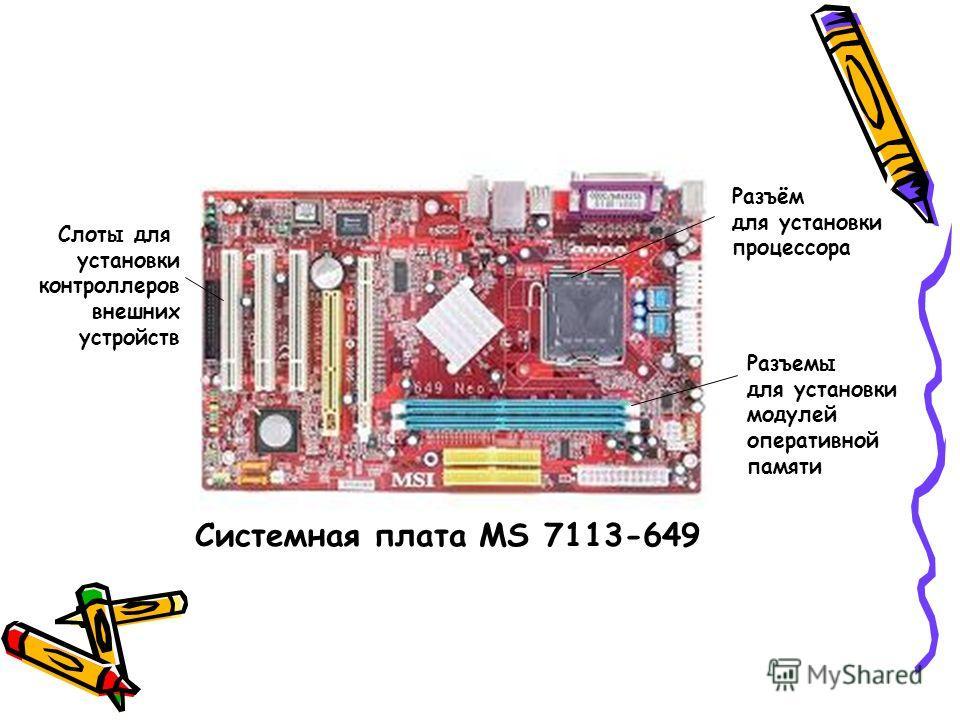 Разъём для установки процессора Слоты для установки контроллеров внешних устройств Разъемы для установки модулей оперативной памяти Системная плата MS 7113-649