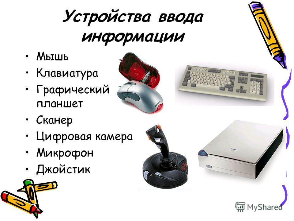 Устройства ввода информации Мышь Клавиатура Графический планшет Сканер Цифровая камера Микрофон Джойстик