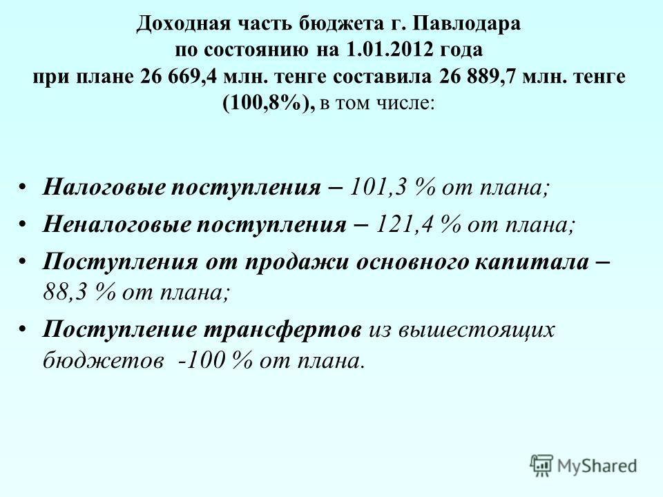 Доходная часть бюджета г. Павлодара по состоянию на 1.01.2012 года при плане 26 669,4 млн. тенге составила 26 889,7 млн. тенге (100,8%), в том числе: Налоговые поступления – 101,3 % от плана; Неналоговые поступления – 121,4 % от плана; Поступления от