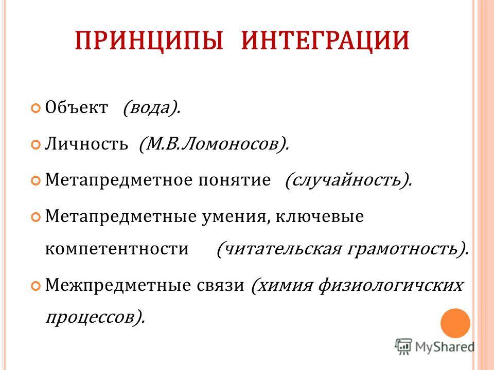 ПРИНЦИПЫ ИНТЕГРАЦИИ Объект (вода). Личность (М.В.Ломоносов). Метапредметное понятие (случайность). Метапредметные умения, ключевые компетентности (читательская грамотность). Межпредметные связи (химия физиологичских процессов).