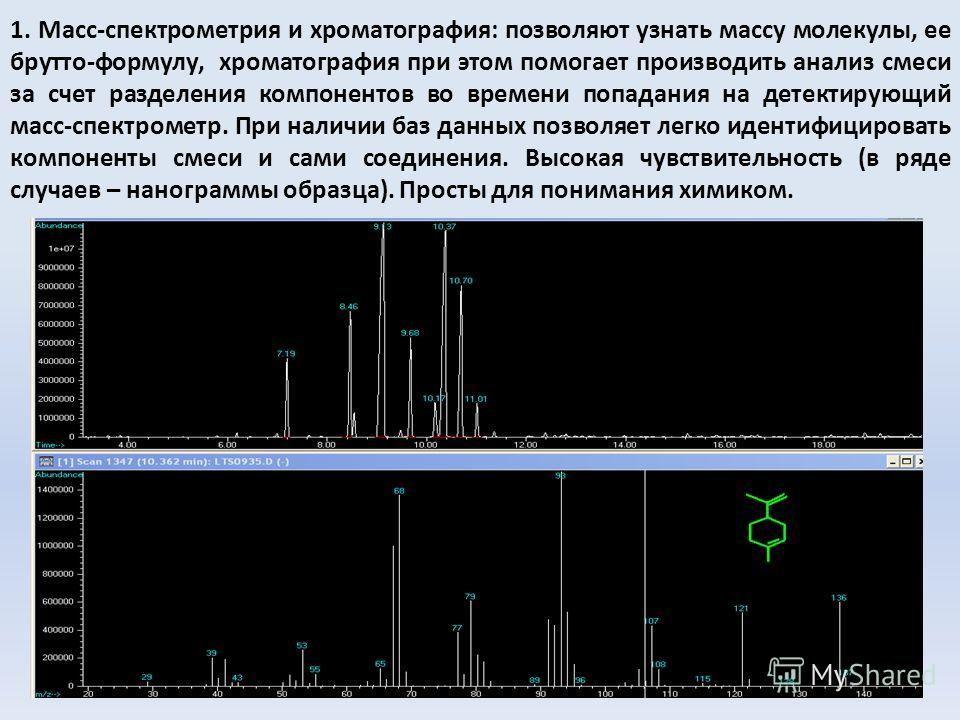 1. Масс-спектрометрия и хроматография: позволяют узнать массу молекулы, ее брутто-формулу, хроматография при этом помогает производить анализ смеси за счет разделения компонентов во времени попадания на детектирующий масс-спектрометр. При наличии баз