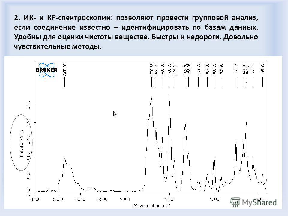 2. ИК- и КР-спектроскопии: позволяют провести групповой анализ, если соединение известно – идентифицировать по базам данных. Удобны для оценки чистоты вещества. Быстры и недороги. Довольно чувствительные методы.