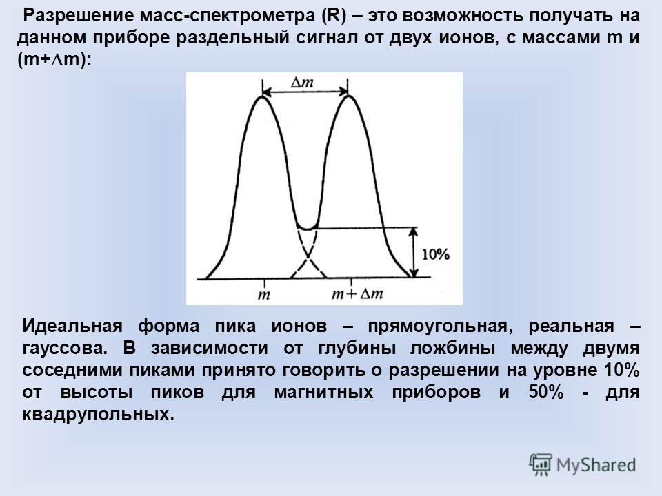 Разрешение масс-спектрометра (R) – это возможность получать на данном приборе раздельный сигнал от двух ионов, с массами m и (m+ m): Идеальная форма пика ионов – прямоугольная, реальная – гауссова. В зависимости от глубины ложбины между двумя соседни