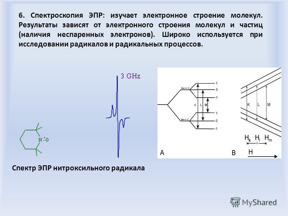 6. Спектроскопия ЭПР: изучает электронное строение молекул. Результаты зависят от электронного строения молекул и частиц (наличия неспаренных электронов). Широко используется при исследовании радикалов и радикальных процессов. Спектр ЭПР нитроксильно
