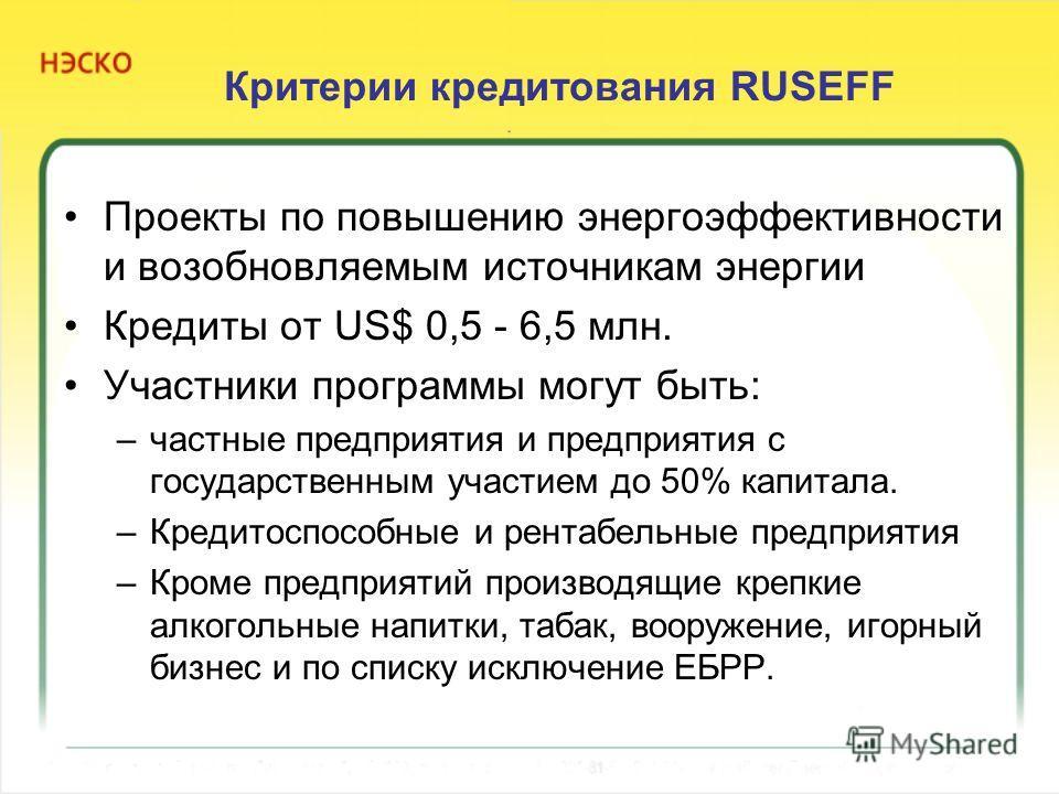 Критерии кредитования RUSEFF Проекты по повышению энергоэффективности и возобновляемым источникам энергии Кредиты от US$ 0,5 - 6,5 млн. Участники программы могут быть: –частные предприятия и предприятия с государственным участием до 50% капитала. –Кр