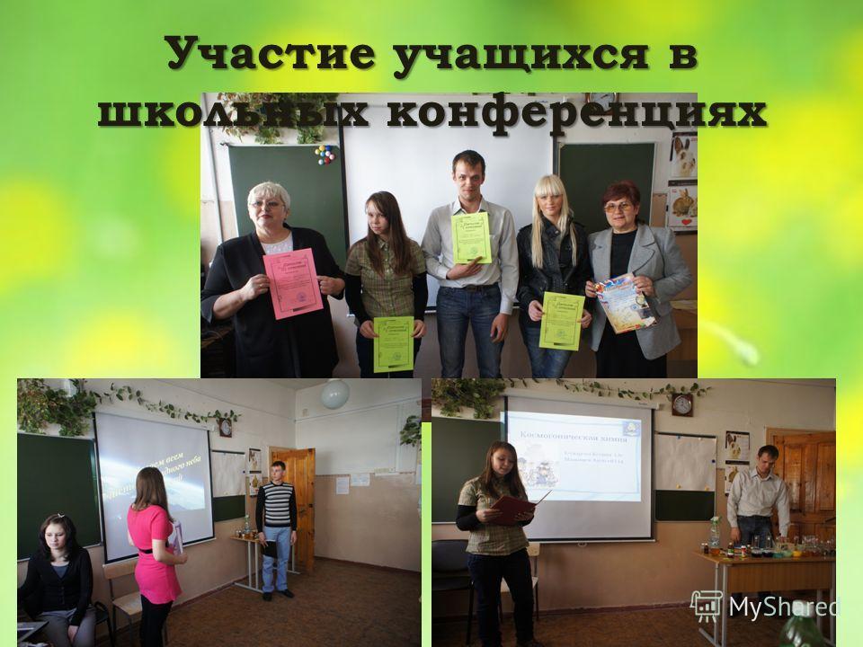 Участие учащихся в школьных конференциях