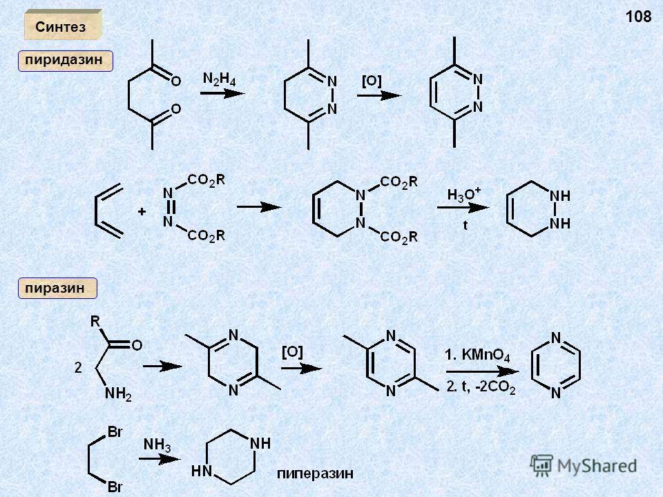 Синтез пиридазин пиразин 108