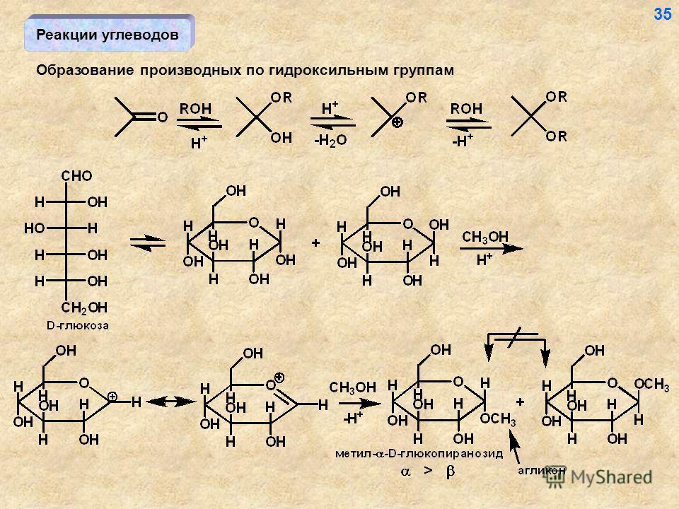 Реакции углеводов Образование производных по гидроксильным группам 35