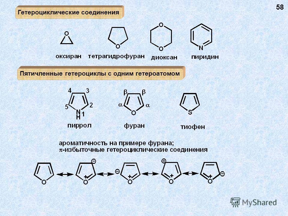Гетероциклические соединения Пятичленные гетероциклы с одним гетероатомом 58