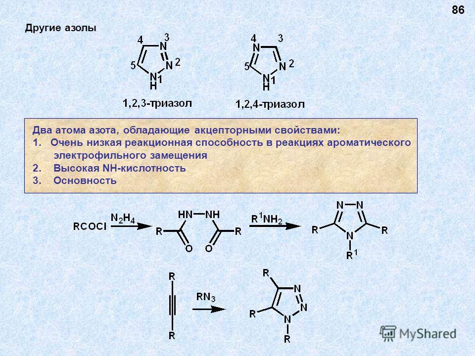 Другие азолы Два атома азота, обладающие акцепторными свойствами: 1.Очень низкая реакционная способность в реакциях ароматического электрофильного замещения 2. Высокая NH-кислотность 3. Основность 86