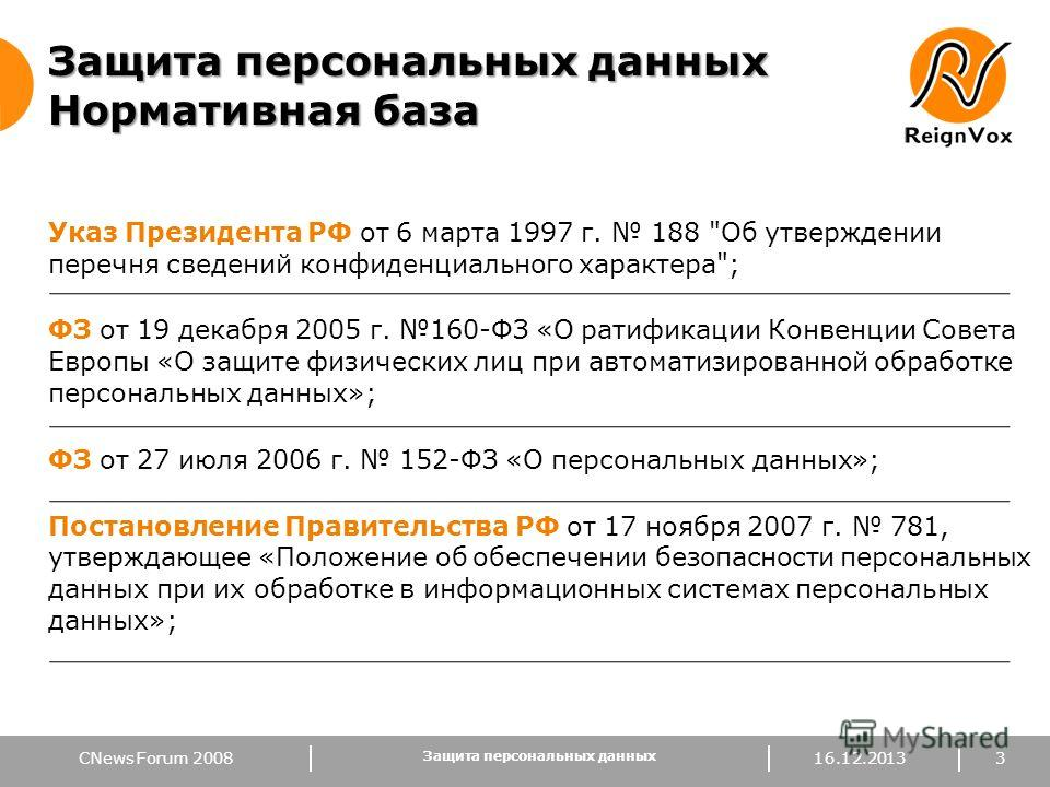 CNews Forum 2008 Защита персональных данных Нормативная база Указ Президента РФ от 6 марта 1997 г. 188