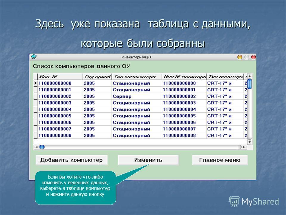 Здесь уже показана таблица с данными, которые были собранны Если вы хотите что-либо изменить у веденных данных, выберете в таблице компьютер и нажмите данную кнопку