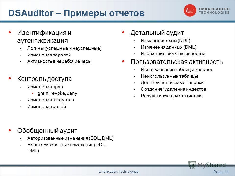 Embarcadero Technologies Page: 11 DSAuditor – Примеры отчетов Идентификация и аутентификация Логины (успешные и неуспешные) Изменения паролей Активность в нерабочие часы Контроль доступа Изменения прав grant, revoke, deny Изменения аккаунтов Изменени