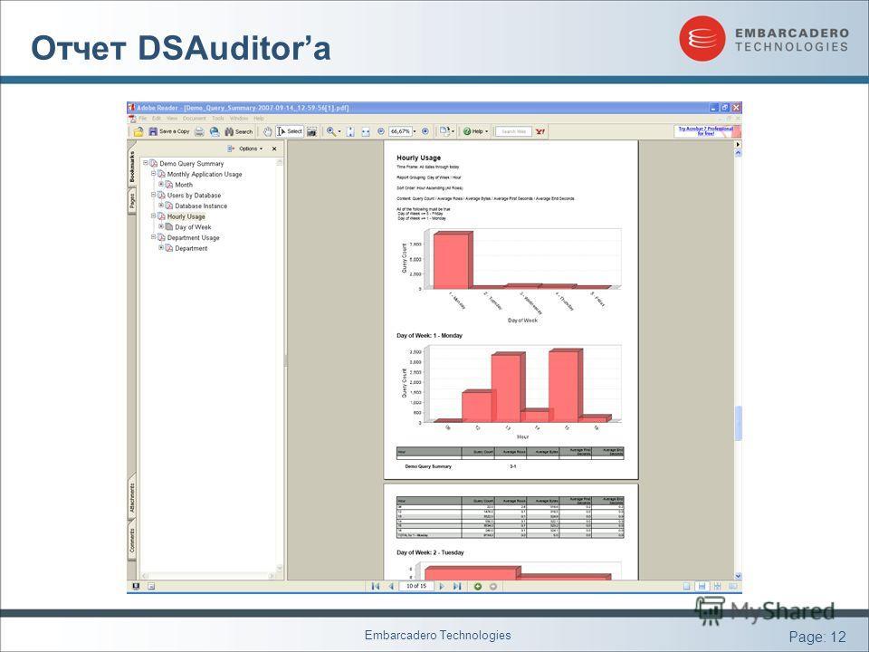 Embarcadero Technologies Page: 12 Отчет DSAuditorа