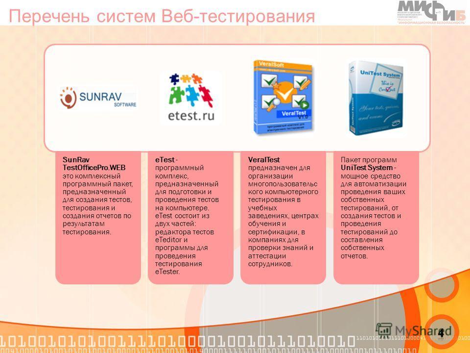 Перечень систем Веб-тестирования SunRav TestOfficePro.WEB это комплексный программный пакет, предназначенный для создания тестов, тестирования и создания отчетов по результатам тестирования. eTest - программный комплекс, предназначенный для подготовк