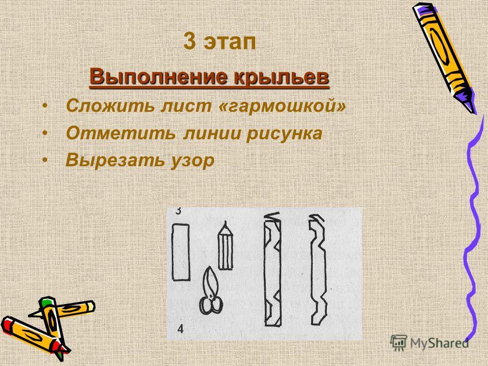 2 этап В ыполнение хвоста Сложить лист «гармошкой» Отметить линии рисунка Вырезать узор