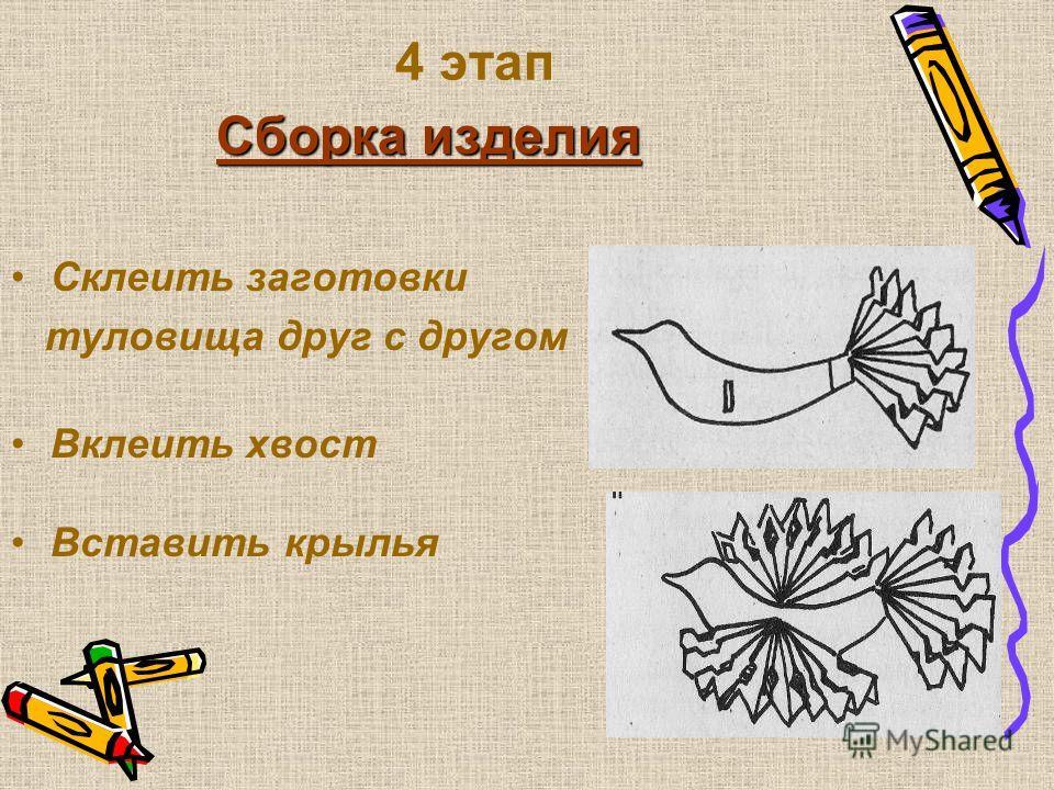3 этап ыполнение крыльев Сложить лист «гармошкой» Отметить линии рисунка Вырезать узор