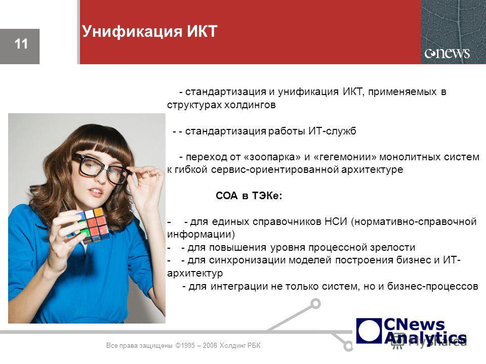 11 Унификация ИКТ 11 Все права защищены ©1995 – 2008 Холдинг РБК - стандартизация и унификация ИКТ, применяемых в структурах холдингов - - стандартизация работы ИТ-служб - переход от «зоопарка» и «гегемонии» монолитных систем к гибкой сервис-ориентир