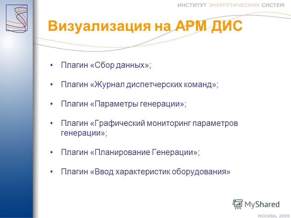 Визуализация на АРМ ДИС Плагин «Сбор данных»; Плагин «Журнал диспетчерских команд»; Плагин «Параметры генерации»; Плагин «Графический мониторинг параметров генерации»; Плагин «Планирование Генерации»; Плагин «Ввод характеристик оборудования»