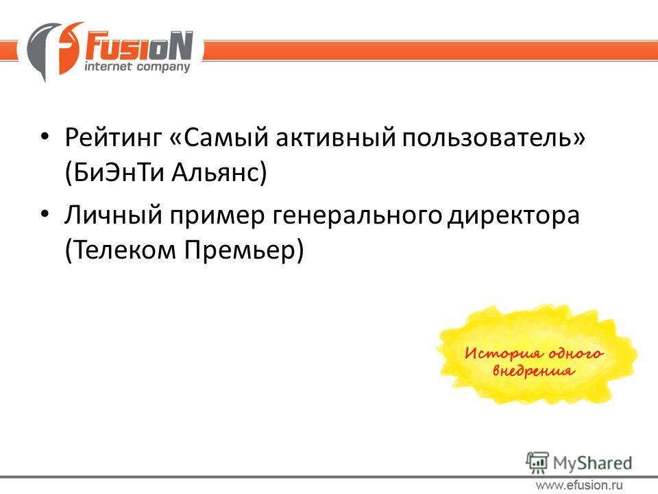 Рейтинг «Самый активный пользователь» (БиЭнТи Альянс) Личный пример генерального директора (Телеком Премьер)