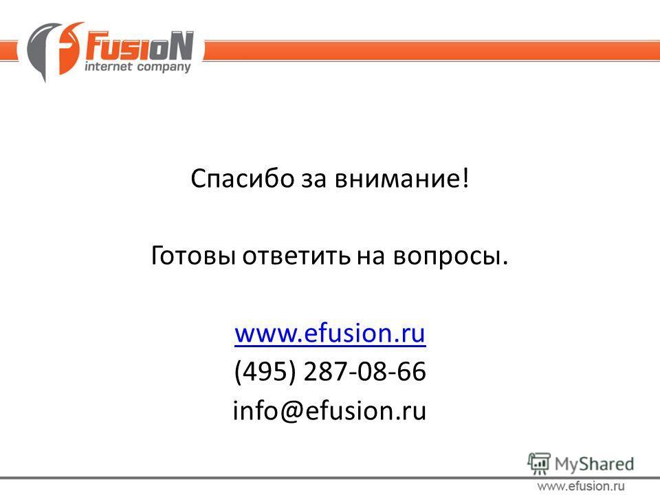 Спасибо за внимание! Готовы ответить на вопросы. www.efusion.ru (495) 287-08-66 info@efusion.ru