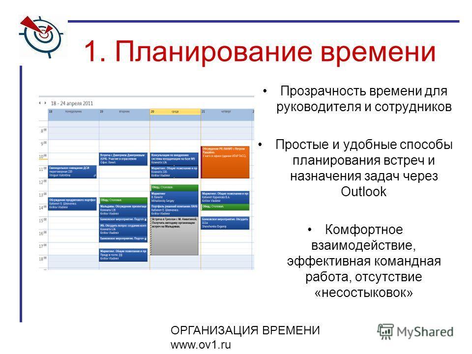 ОРГАНИЗАЦИЯ ВРЕМЕНИ www.ov1.ru 1. Планирование времени Прозрачность времени для руководителя и сотрудников Простые и удобные способы планирования встреч и назначения задач через Outlook Комфортное взаимодействие, эффективная командная работа, отсутст