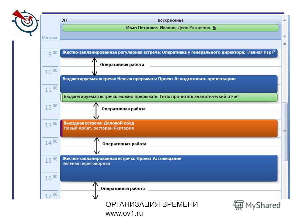 ОРГАНИЗАЦИЯ ВРЕМЕНИ www.ov1.ru