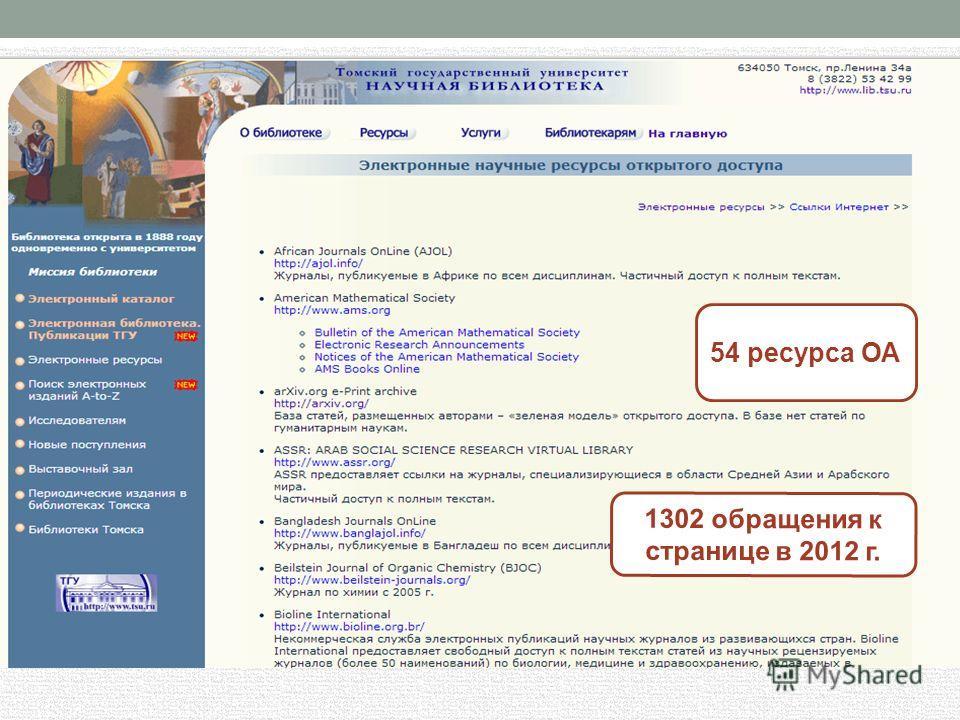 1302 обращения к странице в 2012 г. 54 ресурса ОА