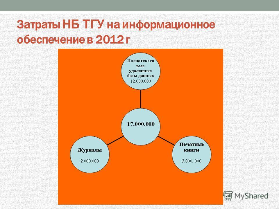 Затраты НБ ТГУ на информационное обеспечение в 2012 г