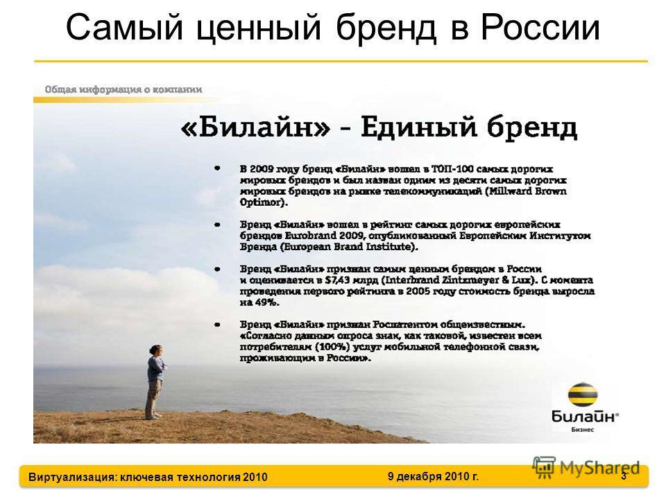 Виртуализация: ключевая технология 2010 9 декабря 2010 г. 3 Самый ценный бренд в России
