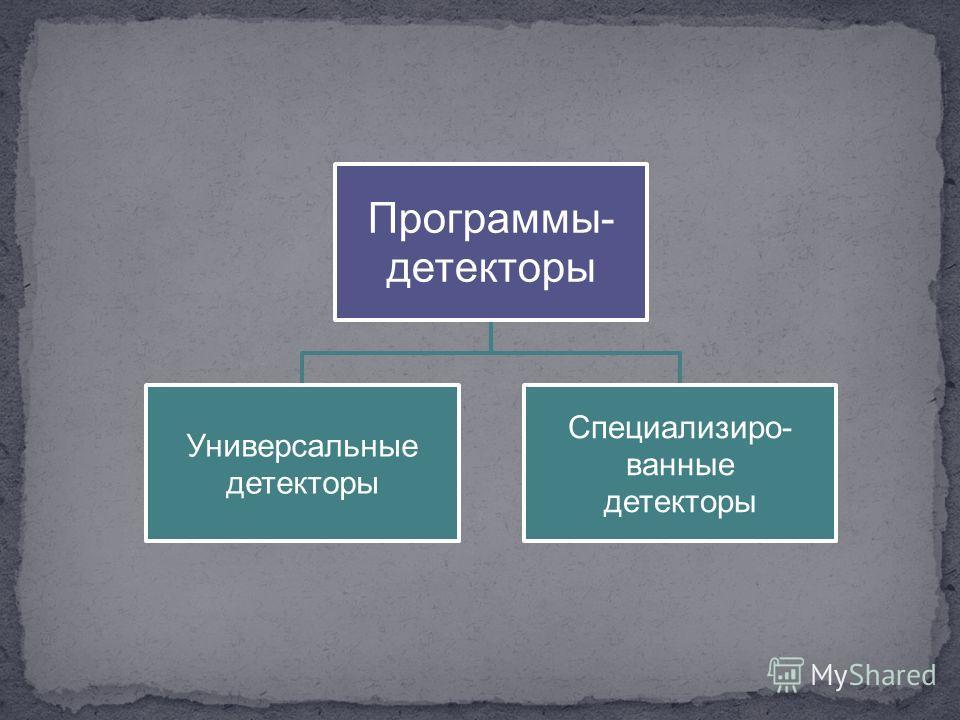 Программы- детекторы Универсальные детекторы Специализиро- ванные детекторы