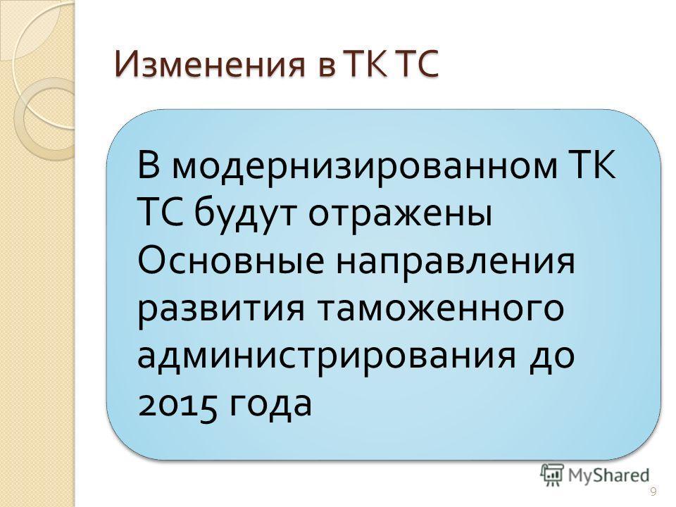 Изменения в ТК ТС В модернизированном ТК ТС будут отражены Основные направления развития таможенного администрирования до 2015 года 9