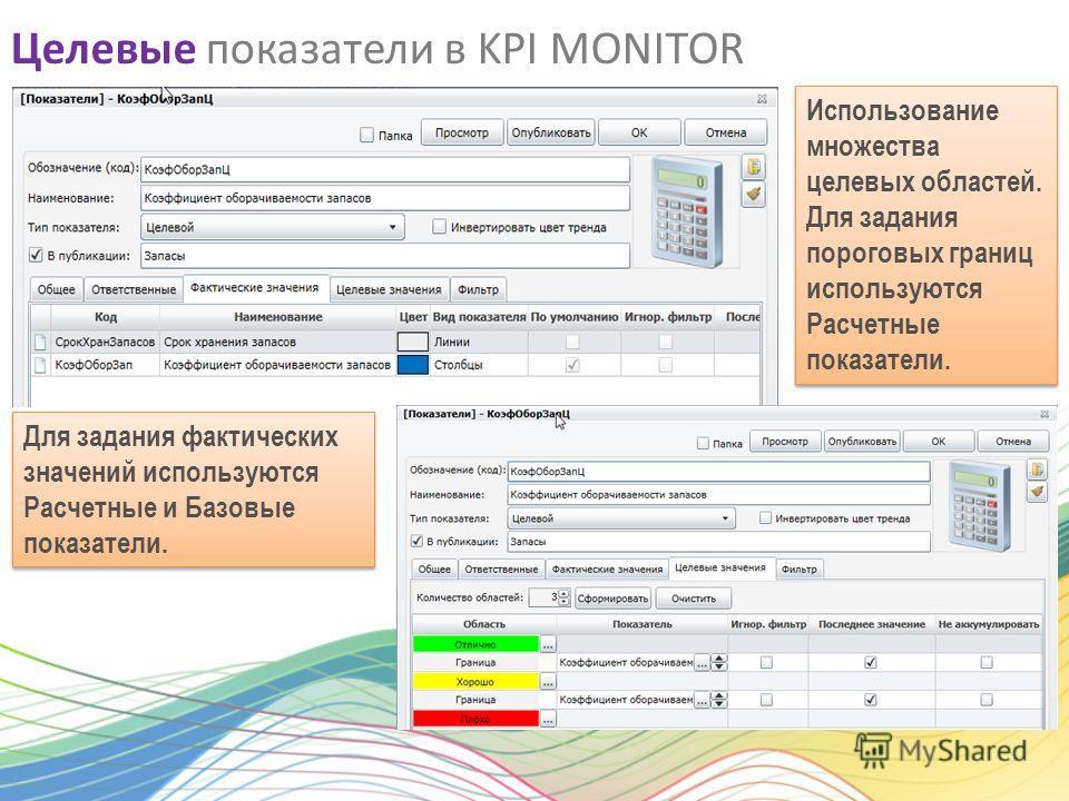Целевые показатели в KPI MONITOR Для задания фактических значений используются Расчетные и Базовые показатели. Использование множества целевых областей. Для задания пороговых границ используются Расчетные показатели. Использование множества целевых о