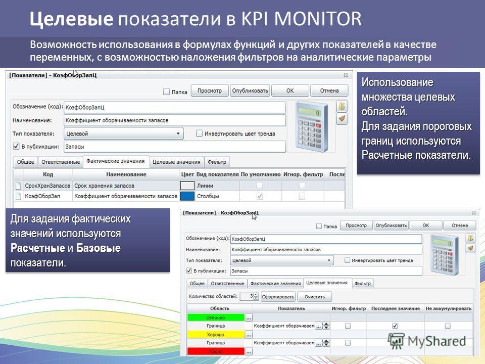 Целевые показатели в KPI MONITOR Возможность использования в формулах функций и других показателей в качестве переменных, с возможностью наложения фильтров на аналитические параметры Для задания фактических значений используются Расчетные и Базовые п