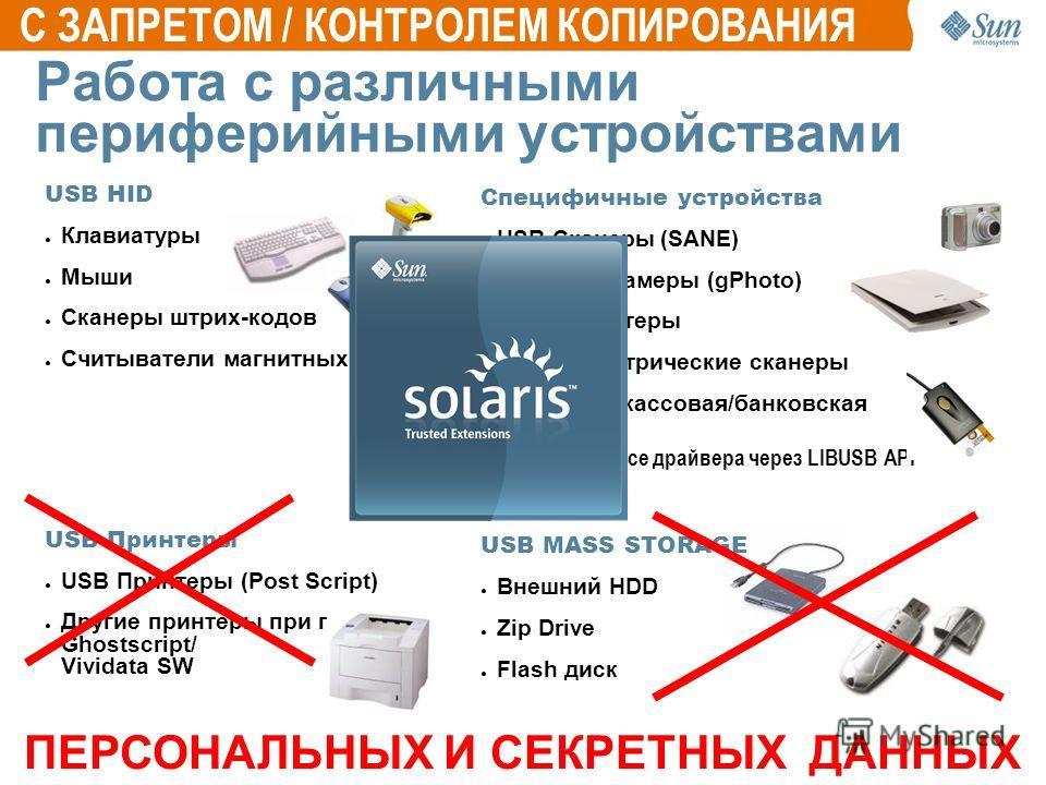 Работа с различными периферийными устройствами USB HID Клавиатуры Мыши Сканеры штрих-кодов Считыватели магнитных карт USB Принтеры USB Принтеры (Post Script) Другие принтеры при помощи Ghostscript/ Vividata SW Специфичные устройства USB Сканеры (SANE