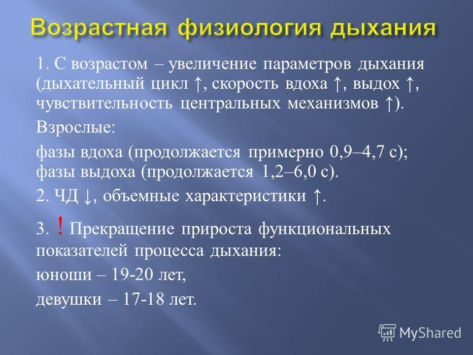 1. С возрастом – увеличение параметров дыхания ( дыхательный цикл, скорость вдоха, выдох, чувствительность центральных механизмов ). Взрослые : фазы вдоха ( продолжается примерно 0,9–4,7 с ); фазы выдоха ( продолжается 1,2–6,0 с ). 2. ЧД, объемные ха