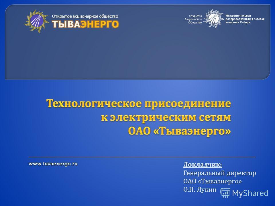 Докладчик : Генеральный директор ОАО « Тываэнерго » О. Н. Лукин www.tuvaenergo.ru