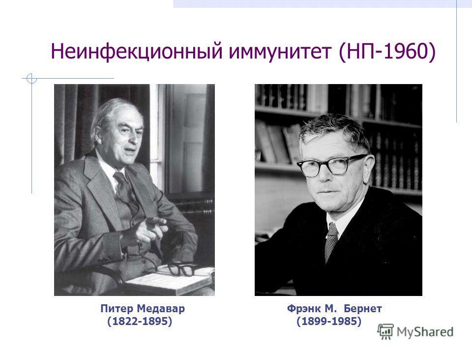 Неинфекционный иммунитет (НП-1960) Питер МедаварФрэнк М. Бернет (1822-1895) (1899-1985)