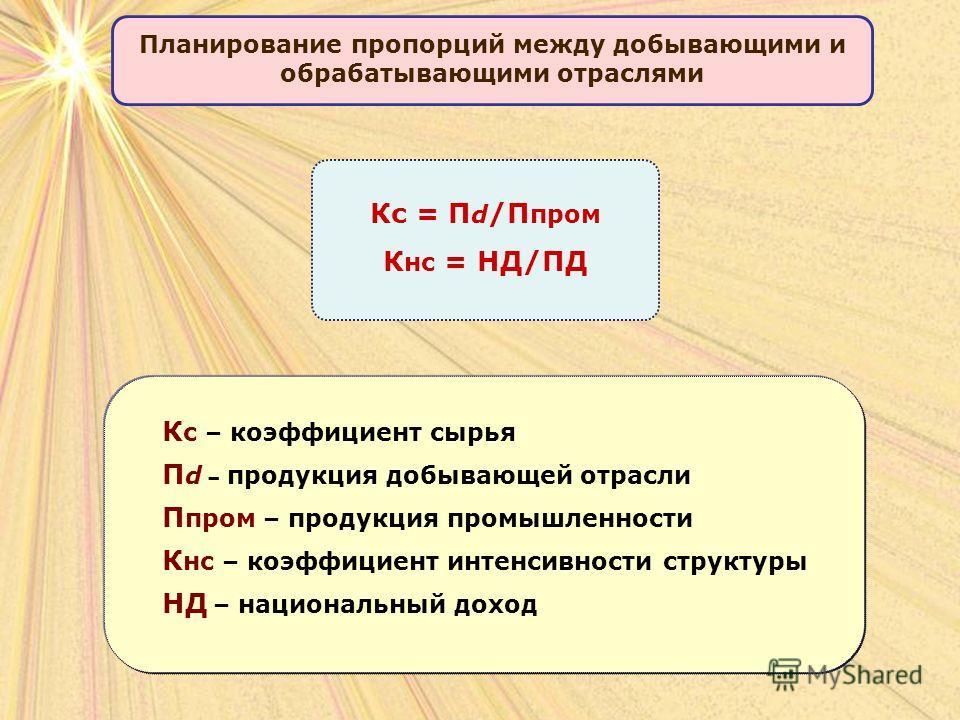 Планирование пропорций между добывающими и обрабатывающими отраслями Кс = П d /П пром К нс = НД/ПД К с – коэффициент сырья П d – продукция добывающей отрасли П пром – продукция промышленности К нс – коэффициент интенсивности структуры НД – национальн