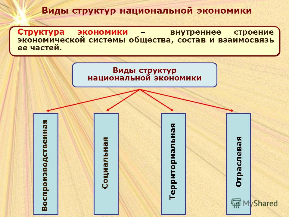 Структура экономики – внутреннее строение экономической системы общества, состав и взаимосвязь ее частей. Виды структур национальной экономики Воспроизводственная Социальная Территориальная Отраслевая Виды структур национальной экономики