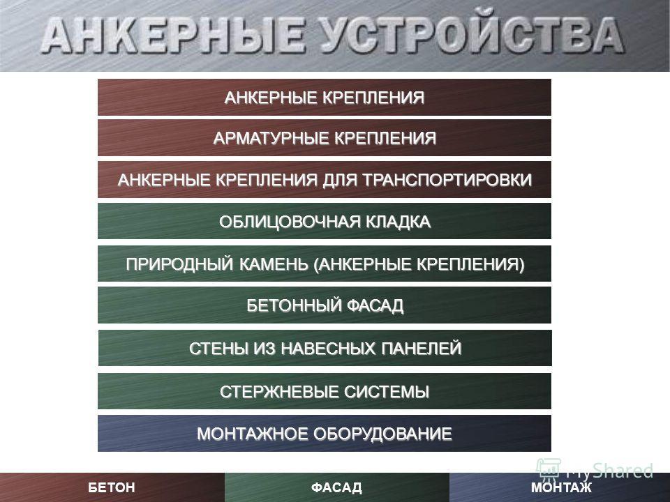 МОНТАЖФАСАДБЕТОН АРМАТУРНЫЕ КРЕПЛЕНИЯ АРМАТУРНЫЕ КРЕПЛЕНИЯ